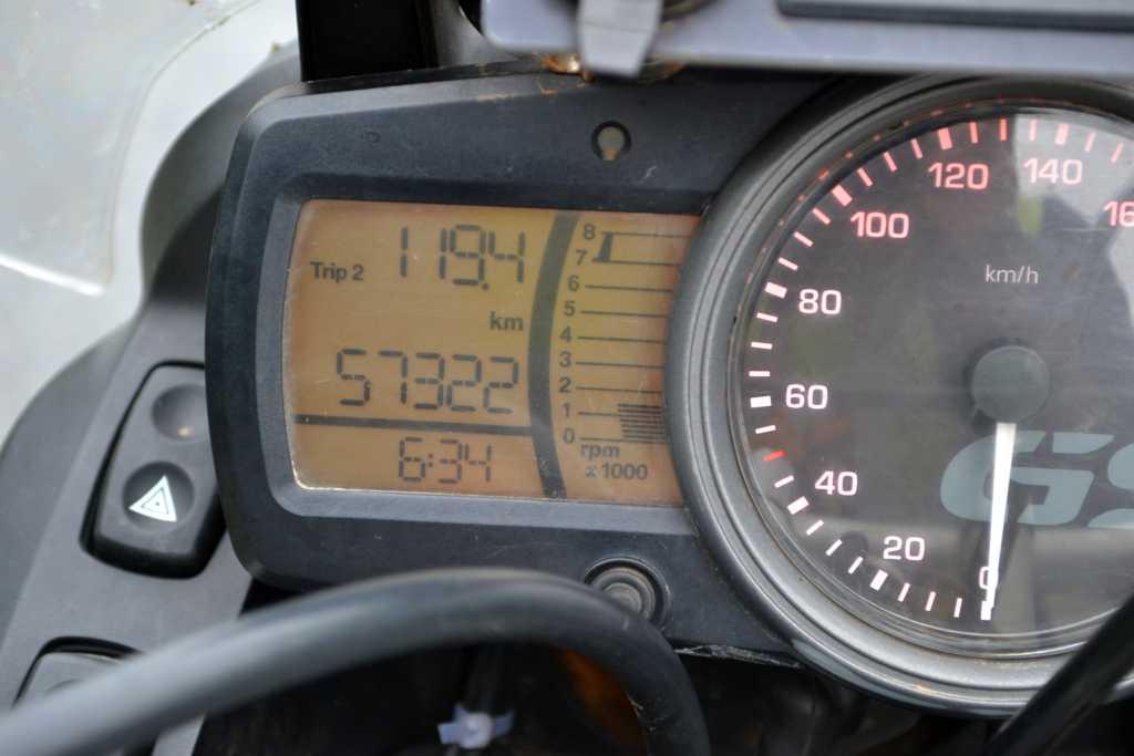 morgens um 6:34h 1119km auf dem Tacho
