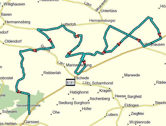 Dalle - Garssen Strecke