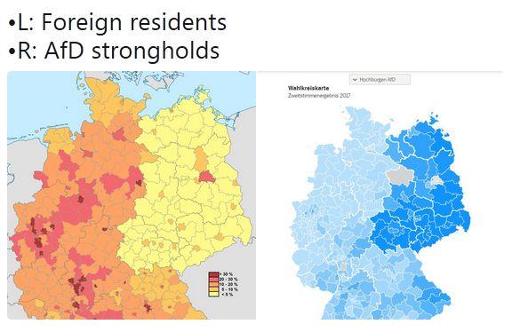 Ausländeranteil vs. AfD Stimmenanteil